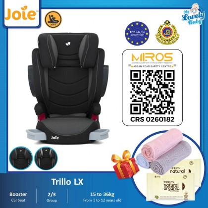 Joie Trillo Lx Booster Car Seat (Free Comfy Blanket + Natural Organic Wet Wipes 10pcs x2)