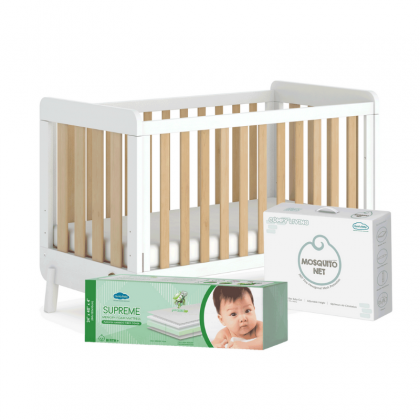 Comfy Baby 5 in 1 Multi Functions Luca Cot - 70 x 130cm (FOC Supreme Mattress + Mosquito Net + Pillow Bolster Set + Blanket) - Deliver to Klang Valley only