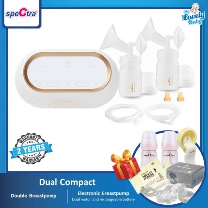 Spectra Dual Compact Double Breastpump (Free Handsfree Set 28mm+Storage Bottle 2pcs+Manual Switch Kit+Wet Wipes 10pcs x2) [Pre-Order]