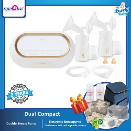 Spectra Dual Compact Double Breastpump (Free Handsfree Set 28mm+Storage Bottle 2pcs+ Ice Packs x2 + Cooler Bag)